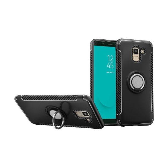 Samsung Galaxy J6 (2018) SM-J600F, Műanyag hátlap védőtok, szilikon keret, telefontartó gyűrű, karbon minta, fekete