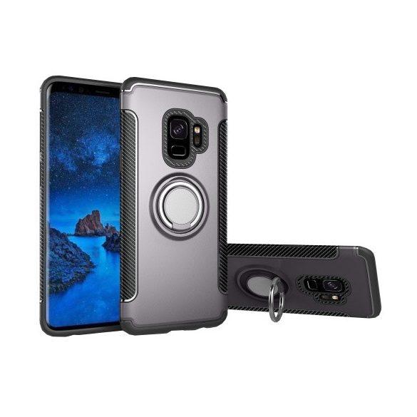 Samsung Galaxy S9 SM-G960, Műanyag hátlap védőtok, szilikon keret, telefontartó gyűrű, karbon minta, szürke