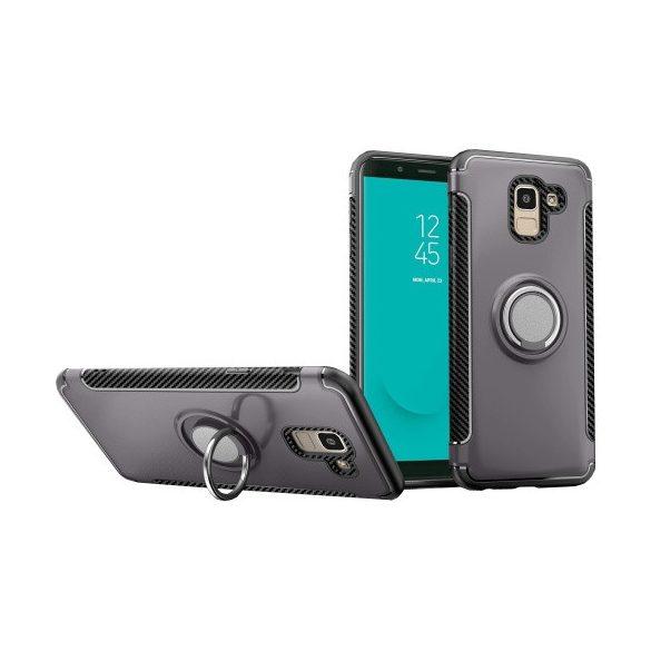 Samsung Galaxy J6 (2018) SM-J600F, Műanyag hátlap védőtok, szilikon keret, telefontartó gyűrű, karbon minta, szürke