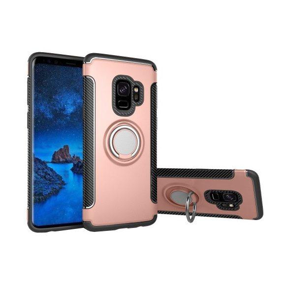 Samsung Galaxy S9 SM-G960, Műanyag hátlap védőtok, szilikon keret, telefontartó gyűrű, karbon minta, vörösarany