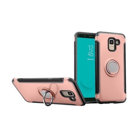 Samsung Galaxy J6 (2018) SM-J600F, Műanyag hátlap védőtok, szilikon keret, telefontartó gyűrű, karbon minta, vörösarany