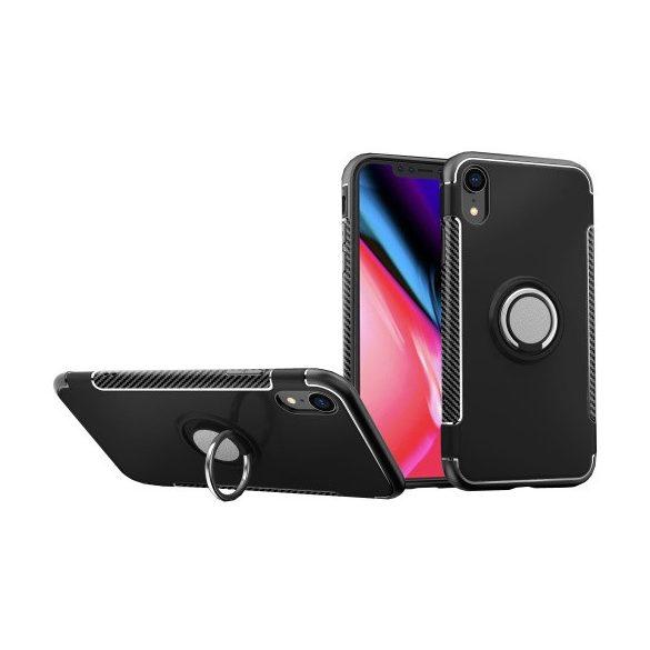 Apple iPhone XR, Műanyag hátlap védőtok, szilikon keret, telefontartó gyűrű, karbon minta, fekete