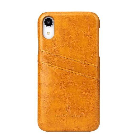 Apple iPhone XR, Műanyag hátlap védőtok, bőr hátlap, Fierre Shann, világosbarna