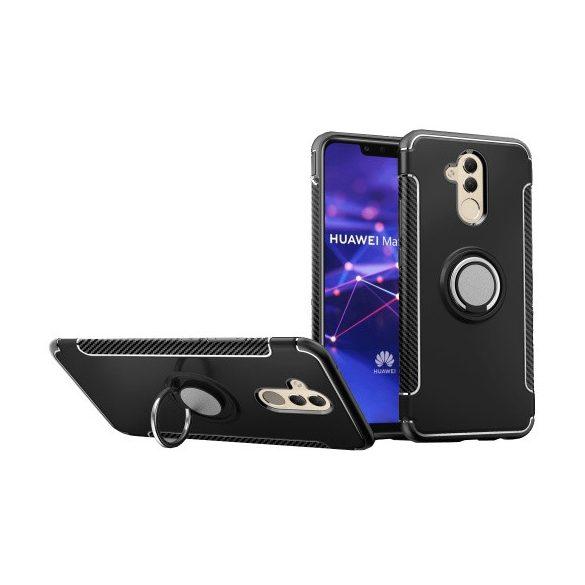 Huawei Mate 20 Lite, Műanyag hátlap védőtok, szilikon keret, telefontartó gyűrű, karbon minta, fekete
