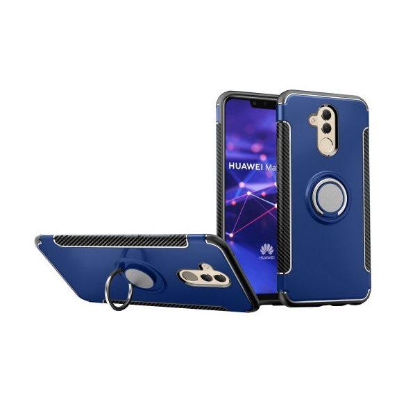 Huawei Mate 20 Lite, Műanyag hátlap védőtok, szilikon keret, telefontartó gyűrű, karbon minta, sötétkék