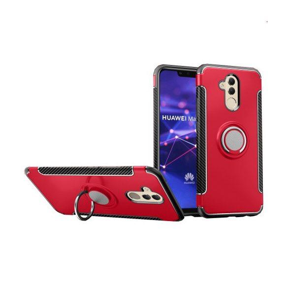 Huawei Mate 20 Lite, Műanyag hátlap védőtok, szilikon keret, telefontartó gyűrű, karbon minta, piros