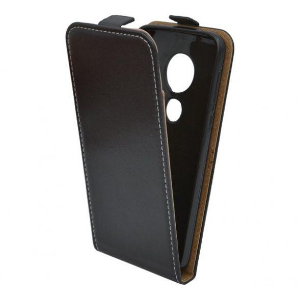 Motorola Moto G7, Forcell lenyitható bőrtok, Slim Flexi, felfelé nyíló - kinyitható, fekete