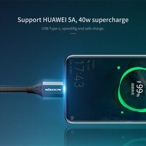 USB töltő- és adatkábel, USB Type-C, 100 cm, 5000 mA, cipőfűző minta, gyorstöltés, Nillkin Speed, fekete
