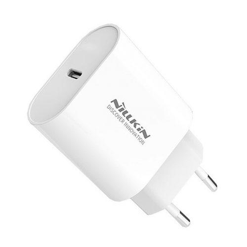 Hálózati töltő adapter, 18W, USB Type-C aljzat, PD, gyorstöltés, Nillkin Bijou, NKA09E, fehér