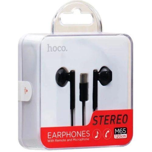 Vezetékes sztereó fülhallgató, USB Type-C, mikrofon, hangerő szabályzó, Hoco M65, fekete