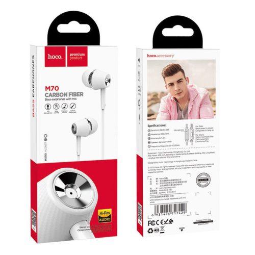 Vezetékes sztereó fülhallgató, 3.5 mm, mikrofon, funkció gomb, Hoco M70 Graceful, fehér