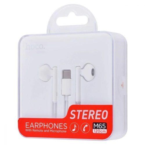 Vezetékes sztereó fülhallgató, USB Type-C, mikrofon, hangerő szabályzó, Hoco M65, fehér