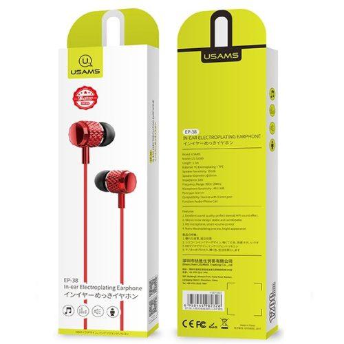 Vezetékes sztereó fülhallgató, 3.5 mm, mikrofon, felvevő gomb, Usams EP-38, piros