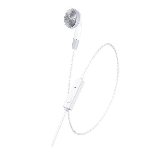 Vezetékes mono fülhallgató, 3.5 mm, mikrofon, funkció gomb, Hoco M61 Nice Tone, fehér