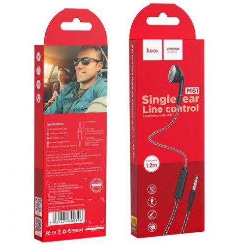Vezetékes mono fülhallgató, 3.5 mm, mikrofon, funkció gomb, Hoco M61 Nice Tone, fekete