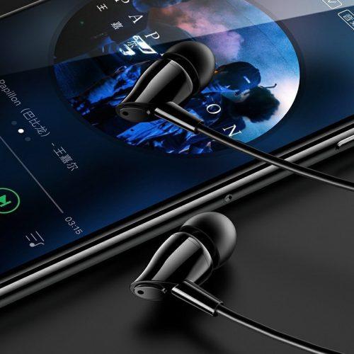 Vezetékes sztereó fülhallgató, 3.5 mm, mikrofon, funkció gomb, Usams EP-37, fekete