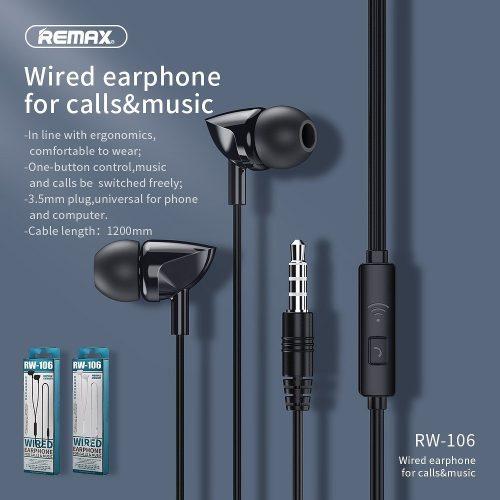 Vezetékes sztereó fülhallgató, 3.5 mm, mikrofon, funkció gomb, Remax RW-106, fekete
