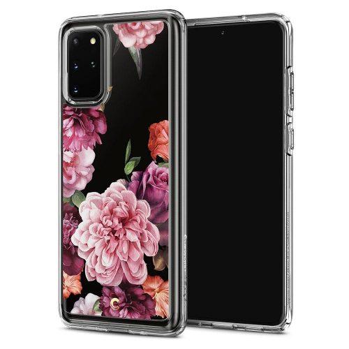 Samsung Galaxy S20 Plus / S20 Plus 5G SM-G985 / G986, Szilikon tok, légpárnás sarok, rózsa minta, Spigen Ciel Cecile, átlátszó/színes