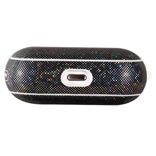 Bluetooth fülhallgató töltőtok tartó, Műbőr + szilikon, csillogó, vezeték nélküli töltés támogatás, Apple AirPods Pro kompatibilis, Nillkin Glitter, fekete