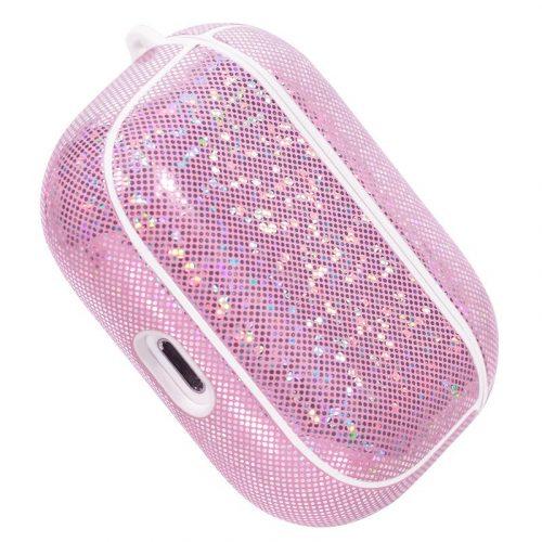 Bluetooth fülhallgató töltőtok tartó, Műbőr + szilikon, csillogó, vezeték nélküli töltés támogatás, Apple AirPods Pro kompatibilis, Nillkin Glitter, rózsaszín