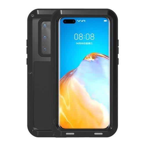 Huawei P40 Pro, Szilikon tok, Love Mei Powerful Defender, ütésálló, fekete