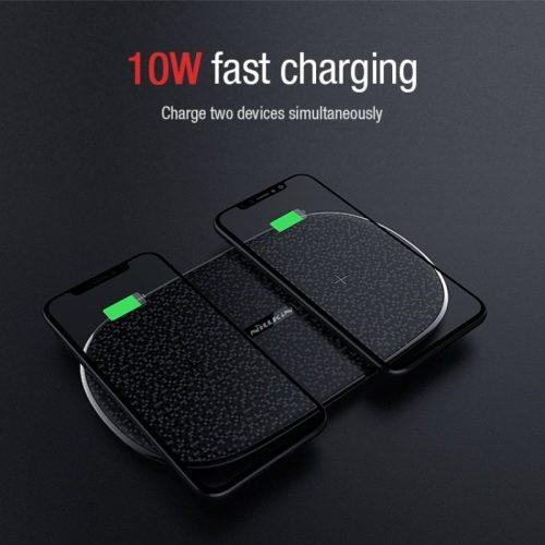 Univerzális vezeték nélküli töltő állomás 2in1, Qi Wireless, 10W, 2 készülék, gyorstöltő, LED - es, Nillkin Dual Shadows, MC030, fekete