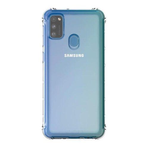 Samsung Galaxy M21 SM-M215F, Szilikon tok, közepesen ütésálló, légpárnás sarok, átlátszó, gyári