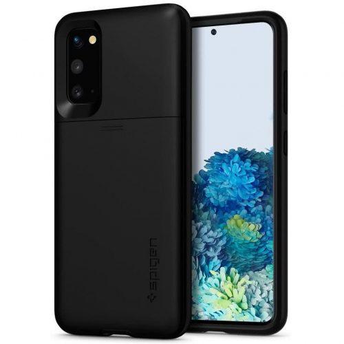 Samsung Galaxy S20 / S20 5G SM-G980 / G981, Szilikon tok, műanyag hátlappal, Spigen Slim Armor CS, fekete