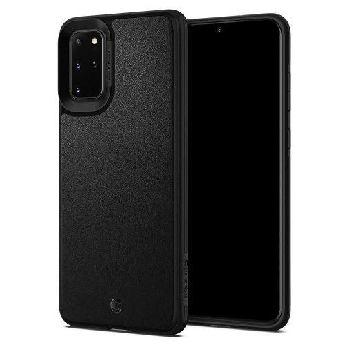 Samsung Galaxy S20 Plus / S20 Plus 5G SM-G985 / G986, Szilikon védőkeret + műanyag hátlap, közepesen ütésálló, bőrrel bevont hátlap, Spigen Ciel Cyril Leather Brick, fekete