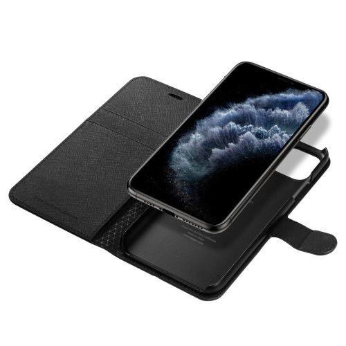 Apple iPhone 11 Pro, Oldalra nyíló tok, stand, Spigen Wallett S, fekete