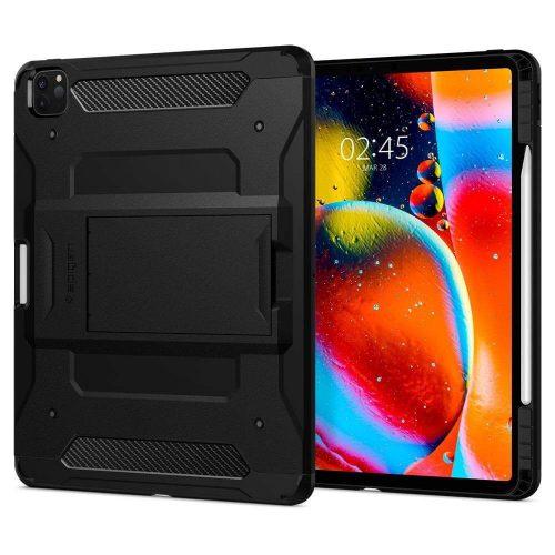 Apple iPad Pro 12.9 (2020), Szilikon tok + műanyag hátlap, kitámasztóval, Spigen Tough Armor Tech, fekete