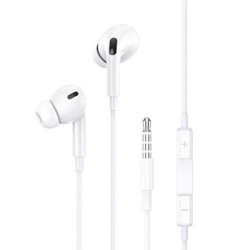 Vezetékes sztereó fülhallgató, 3.5 mm, mikrofon, felvevő gomb, hangerő szabályzó, Usams EP-41, fehér