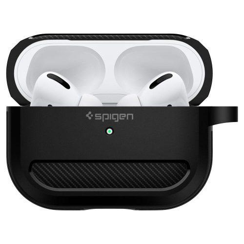 Bluetooth fülhallgató töltőtok tartó, szilikon, vezeték nélküli töltés támogatás, karabiner, Apple AirPods Pro kompatibilis, Spigen Rugged Armor, fekete