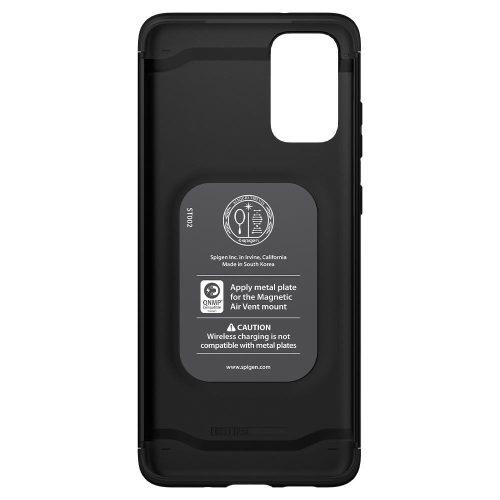 Samsung Galaxy S20 Plus / S20 Plus 5G SM-G985 / G986, Műanyag hátlap védőtok, beépített fémlemez, mágneses, Spigen Thin Fit Classic, fekete