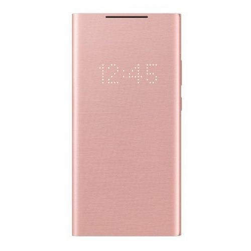Samsung Galaxy Note 20 Ultra / 20 Ultra 5G SM-N985 / N986, Oldalra nyíló tok, LED kijelzővel, rózsaszín, gyári