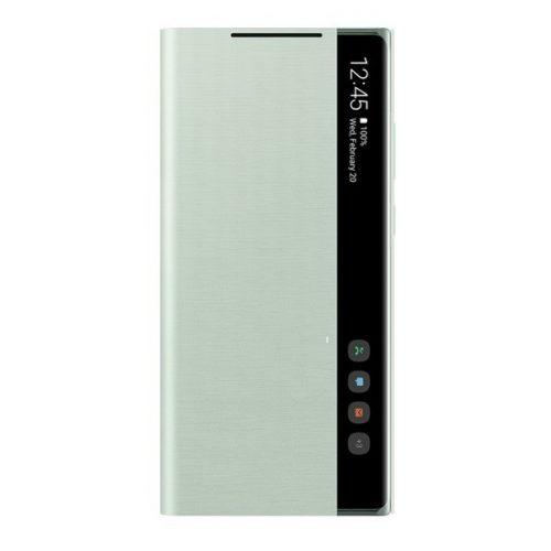 Samsung Galaxy Note 20 / 20 5G SM-N980 / N981, Oldalra nyíló tok, hívás mutatóval, Clear View Cover, menta, gyári