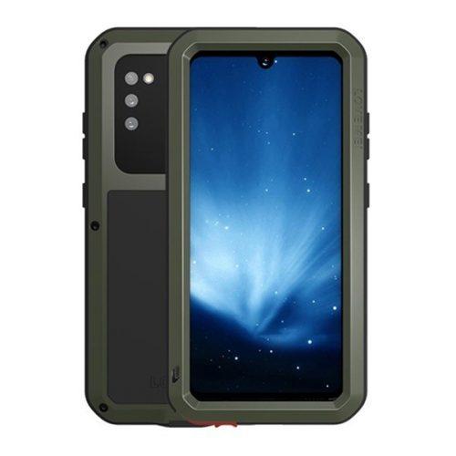 Samsung Galaxy A41 SM-A415F, Szilikon tok, Love Mei Powerful Defender, ütésálló, sötétzöld