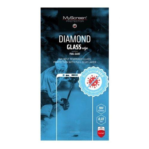 Samsung Galaxy A20 / A30 / A30s / A50 / A50s / M30, Kijelzővédő ütésálló fólia (az íves részre is!), MyScreen Diamond Glass (Edzett gyémántüveg), Full Glue, Antibacterial, fekete
