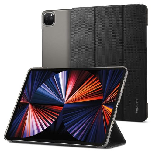 Apple iPad Pro 12.9 (2021), mappa tok, Smart Case, Spigen Liquid Air Folio, fekete