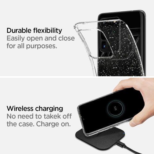 Samsung Galaxy A52 / A52 5G SM-A525F / A526B, Szilikon tok, Spigen Liquid Crystal Glitter, átlátszó