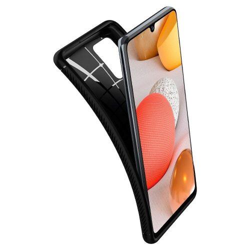 Samsung Galaxy A52 / A52 5G SM-A525F / A526B, Szilikon tok, Spigen Rugged Armor, karbon minta, fekete