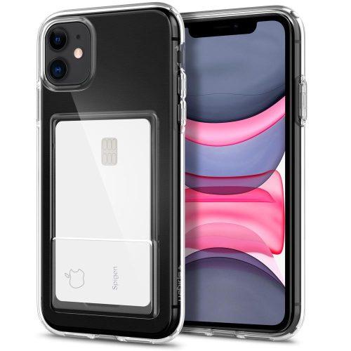 Apple iPhone 11, Szilikon tok, kártyatartóval, Spigen Crystal Slot, átlátszó