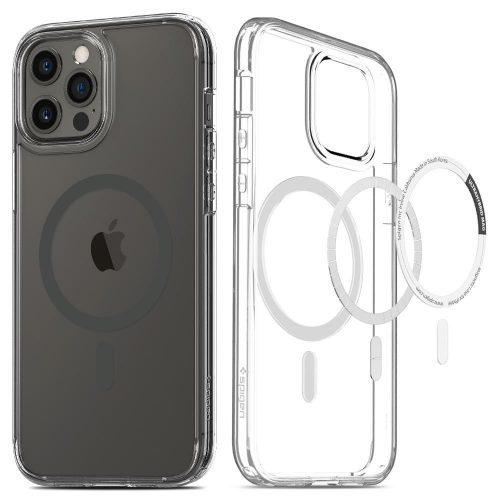 Apple iPhone 12 Pro Max, Műanyag hátlap védőtok + szilikon keret, Magsafe töltővel kompatibilis, Spigen Ultra Hybrid Mag, átlátszó/szürke