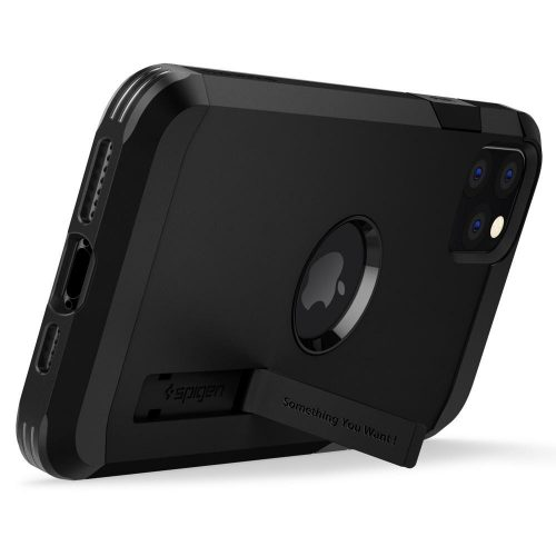 Samsung Galaxy Xcover 5 SM-G525F, Szilikon tok + műanyag hátlap, kitámasztóval, Spigen Tough Armor, fekete
