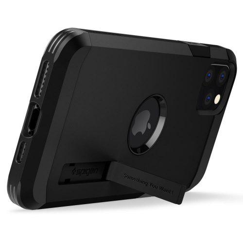 Samsung Galaxy A52 / A52 5G SM-A525F / A526B, Szilikon tok + műanyag hátlap, kitámasztóval, Spigen Tough Armor, fekete