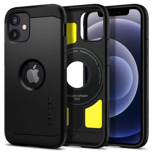 Apple iPhone 12 Mini, Szilikon tok + műanyag hátlap, kitámasztóval, Magsafe töltővel kompatibilis, Spigen Tough Armor Magsafe, fekete