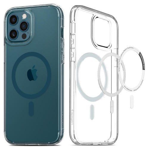 Apple iPhone 12 Pro Max, Műanyag hátlap védőtok + szilikon keret, Magsafe töltővel kompatibilis, Spigen Ultra Hybrid Mag, átlátszó/kék