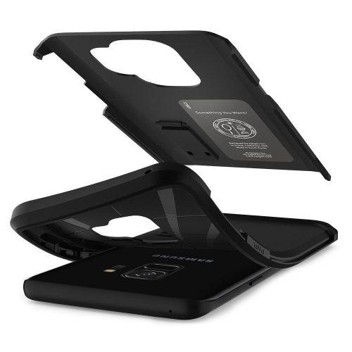 Apple iPhone 12 / 12 Pro, Szilikon tok + műanyag hátlap, kitámasztóval, Magsafe töltővel kompatibilis, Spigen Tough Armor Magsafe, fekete