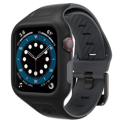 Apple Watch 4-6, SE (44mm), Szilikon védőkeret és szíj, Spigen Liquid Air Pro, fekete