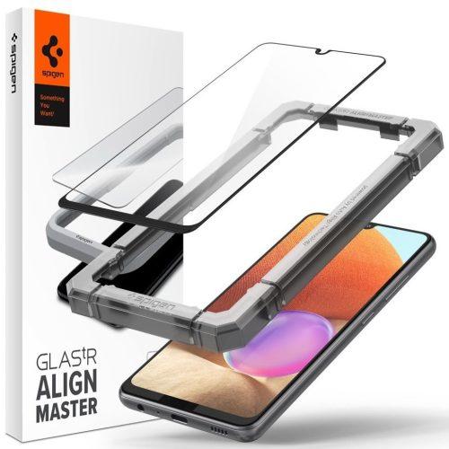 Samsung Galaxy A32 4G SM-A325F, Kijelzővédő fólia, ütésálló fólia (az íves részre is!), Tempered Glass (edzett üveg), Full Cover, Spigen Glastr Alignmaster, fekete